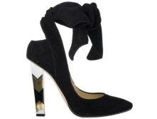 Jimmy Choo black suede 'Amos' court shoe with chevron heel675