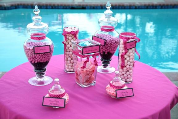 californiaweddingreceptiondecorhotpinkblackcandy
