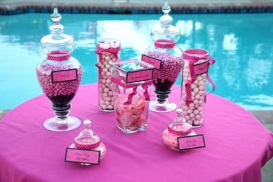 california-wedding-reception-decor-hot-pink-black-candy-bar
