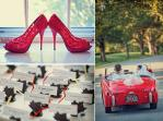 real-virginia-wedding-red-wedding-car-antique-cute-escort-card-table